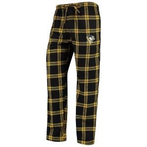 Men's Pittsburgh Penguins Concepts Sport Black/Gold Homestretch Flannel Pants