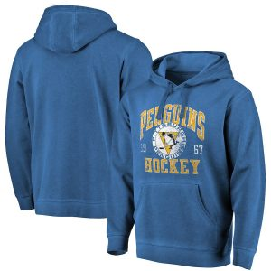 Men's Pittsburgh Penguins Fanatics Branded Blue Washed Old Favorite Pullover Hoodie
