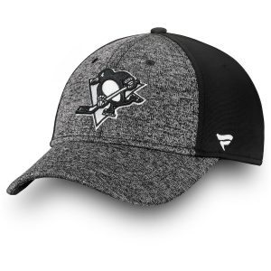 Men's Pittsburgh Penguins Fanatics Branded Gray/Black Black and White Mesh Speed Flex Hat
