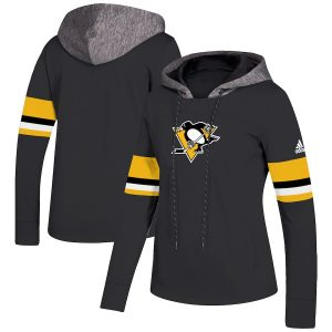 Women's Pittsburgh Penguins adidas Black Crewdie Pullover Hoodie