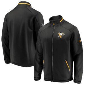 Men's Pittsburgh Penguins Fanatics Branded Black Authentic Pro Rinkside Full-Zip Jacket
