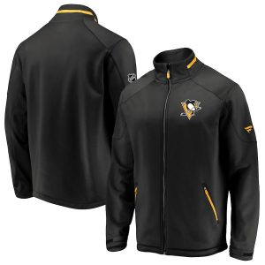 Men's Pittsburgh Penguins Fanatics Branded Black Authentic Pro Rinkside Full-Zip Jacket
