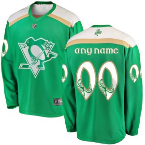 Men's Pittsburgh Penguins Fanatics Branded Green 2019 St. Patrick's Day Replica Custom Jersey