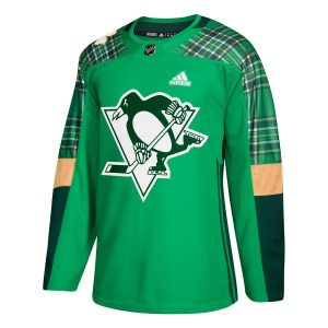 Men's Pittsburgh Penguins adidas Green St. Patrick's Day Authentic Practice Jersey