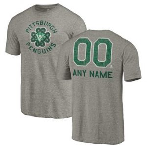 Men's Pittsburgh Penguins Fanatics Branded Gray Personalized St. Patrick's Day Luck Tradition Tri-Blend T-Shirt