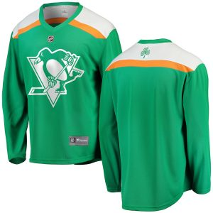 Men's Pittsburgh Penguins Fanatics Branded Green St. Patrick's Day Replica Blank Jersey