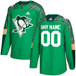 Men's Pittsburgh Penguins adidas Green St. Patrick's Day Custom Practice Jersey