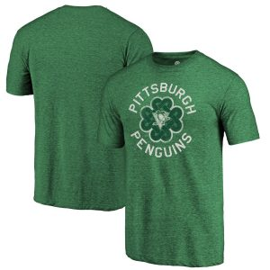 Men's Pittsburgh Penguins Fanatics Branded Kelly Green St. Patrick's Day Luck Tradition Tri-Blend T-Shirt