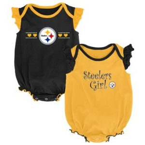 Pittsburgh Steelers Girls Newborn Homecoming Two-Pack Bodysuit- Black/Gold