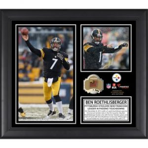 Pittsburgh Steelers Ben Roethlisberger Fanatics Authentic Framed 15″ x 17″ Career Franchise Touchdown Passing Record Collage with Game-Used Ball – Limited Edition of 500