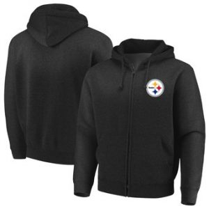 Pittsburgh Steelers Majestic Cap Logo Full-Zip Hoodie – Black
