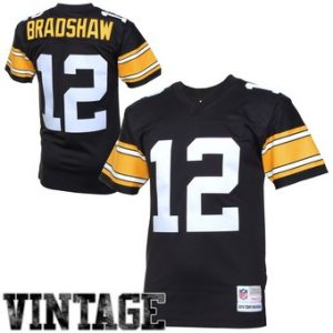 Terry Bradshaw Pittsburgh Steelers Mitchell & Ness Retired Player Vintage Replica Jersey – Black