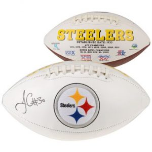 Autographed Pittsburgh Steelers James Conner Fanatics Authentic White Panel Football