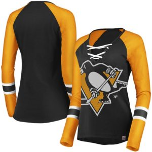 Women's Pittsburgh Penguins Majestic Black/Gold The Lace Up Raglan Long Sleeve T-Shirt