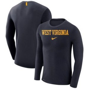 West Virginia Mountaineers Nike Marled Wordmark Long Sleeve Performance T-Shirt – Heathered Navy