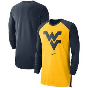 West Virginia Mountaineers Nike On-Court Basketball Elite Performance Long Sleeve T-Shirt – Gold
