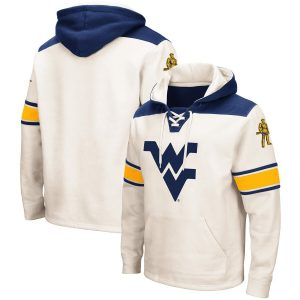 West Virginia Mountaineers Colosseum 2.0 Lace-Up Pullover Hoodie – Cream